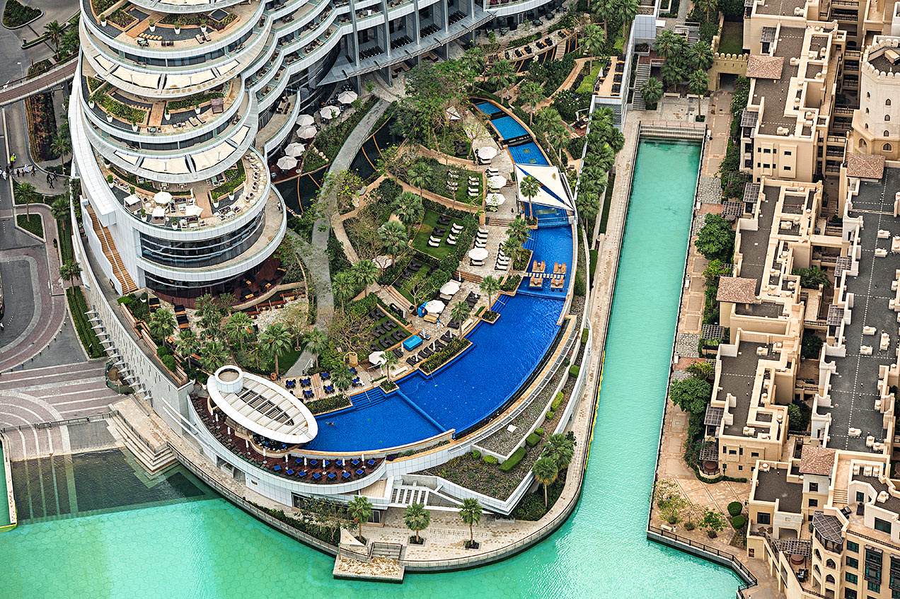 Aerial view of Dubai Hotel swimming pool