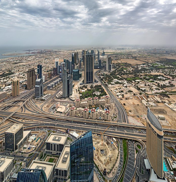 view of downtown Dubai from Burj Khalifa