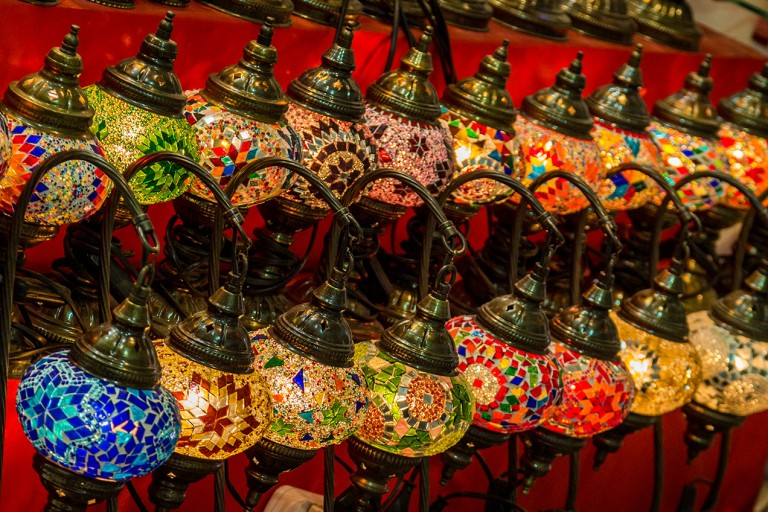 Image of lamps in the Dubai Spice Market