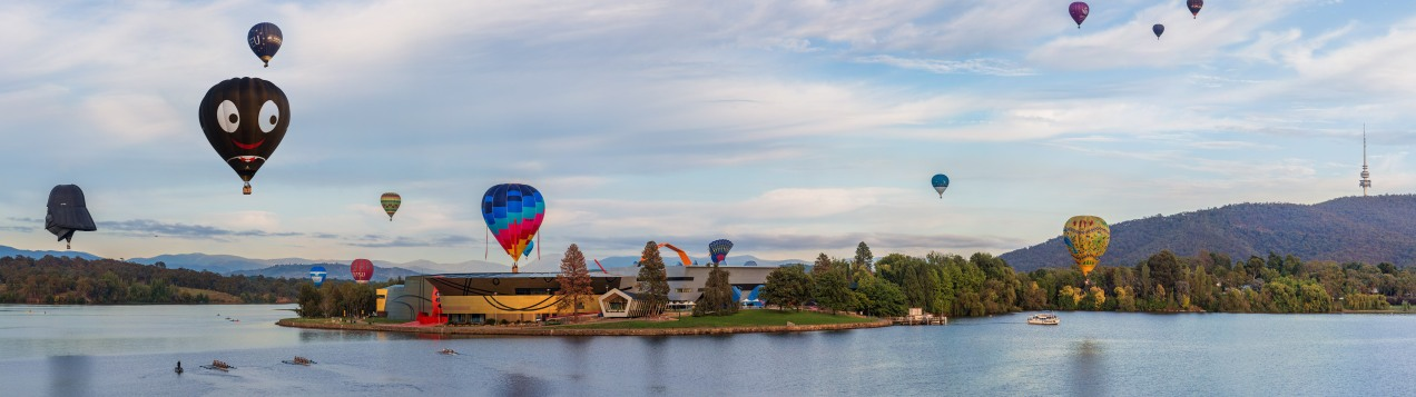 Balloons over the National Museum of Canberra
