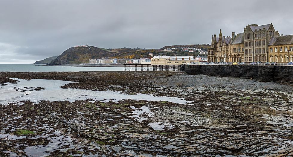 Panoramic image of Aberystwyth, Wales