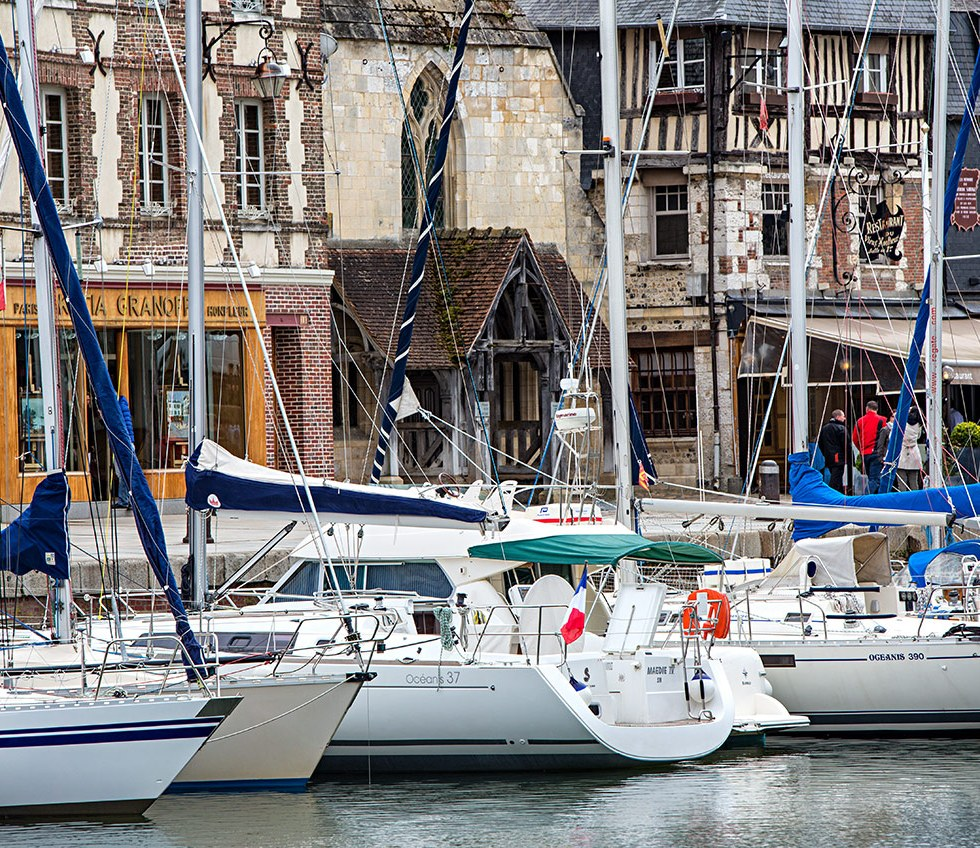 Image of yachts in Honfleur harbour