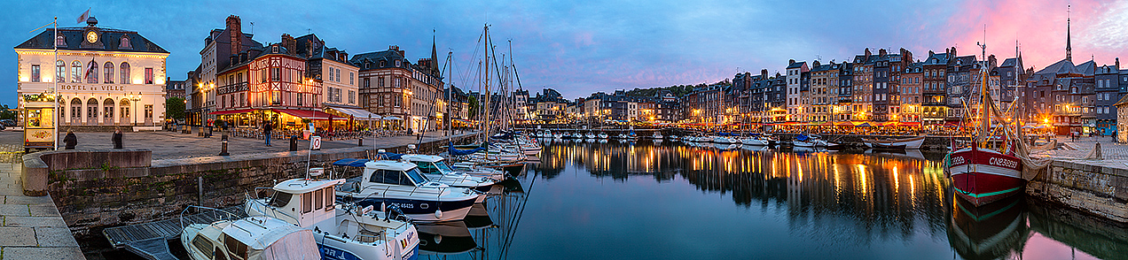 Panoramic image of Honfleur harbour at dusk