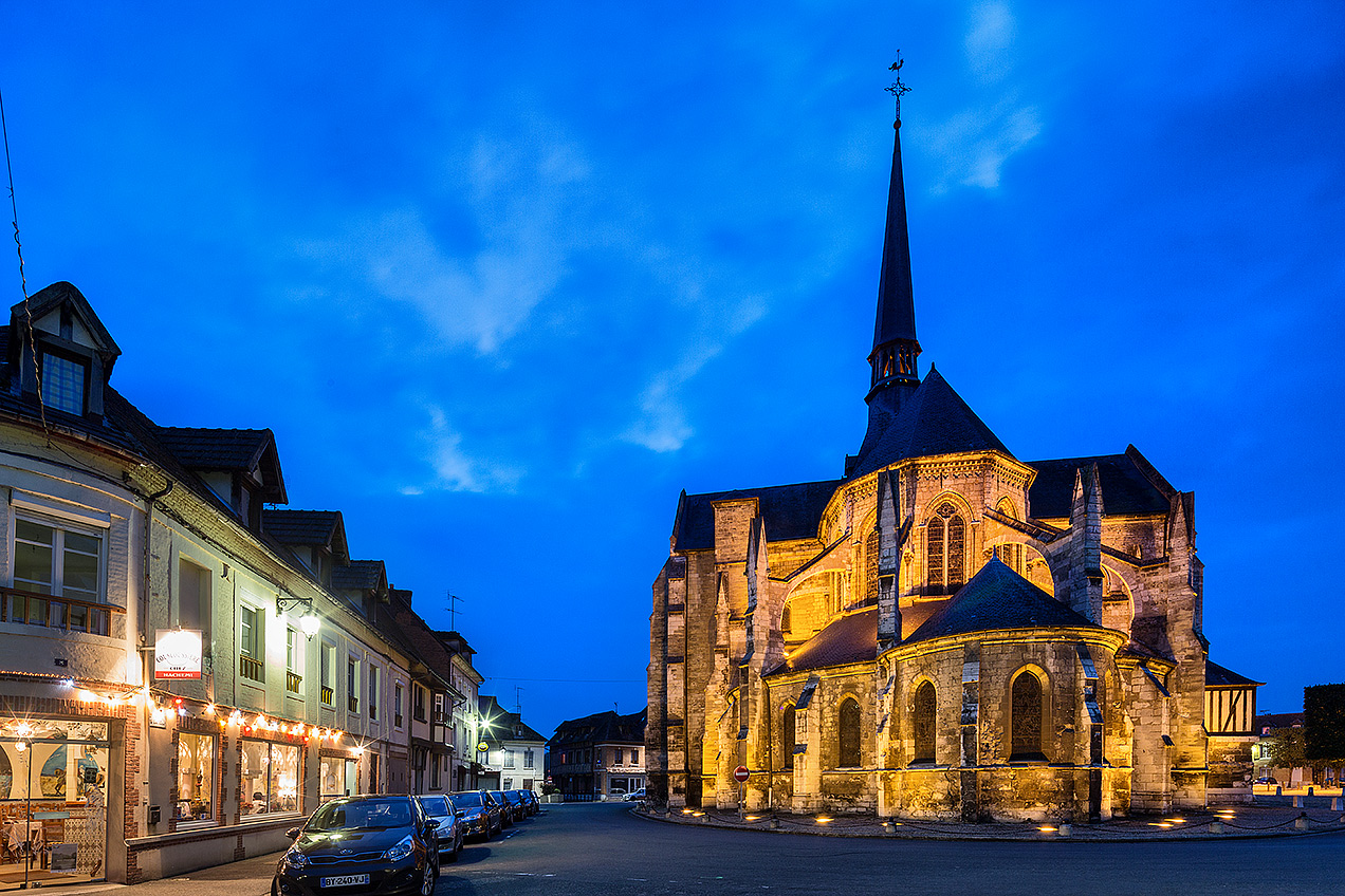 Image of the church in the old town of Les Andelys at dusk...