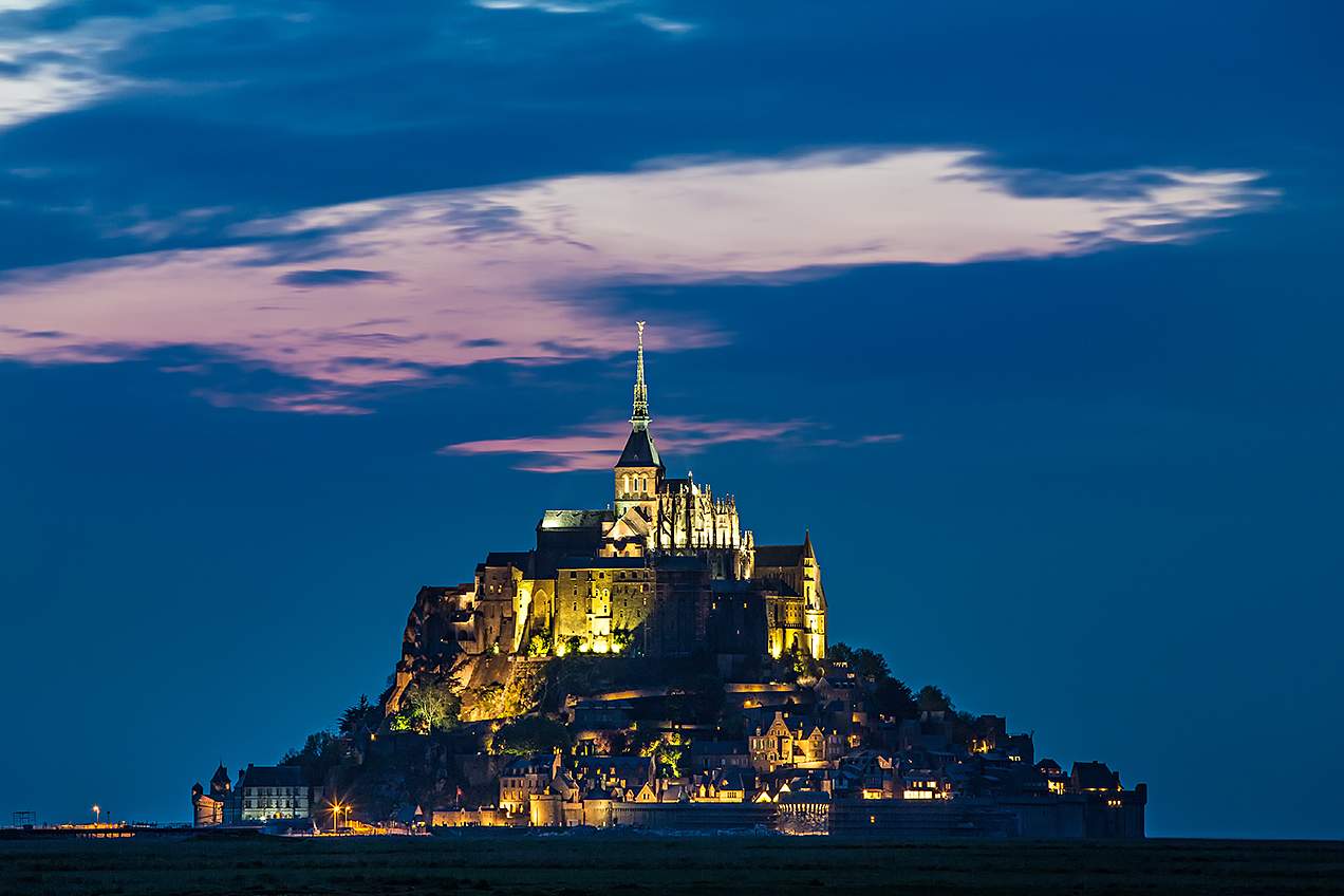 Mont Saint Michel at dusk, Normandy