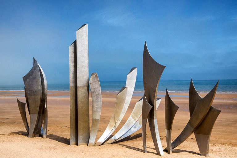 'Les Braves' monument on Omaha beach by sculptor Anilore Banon