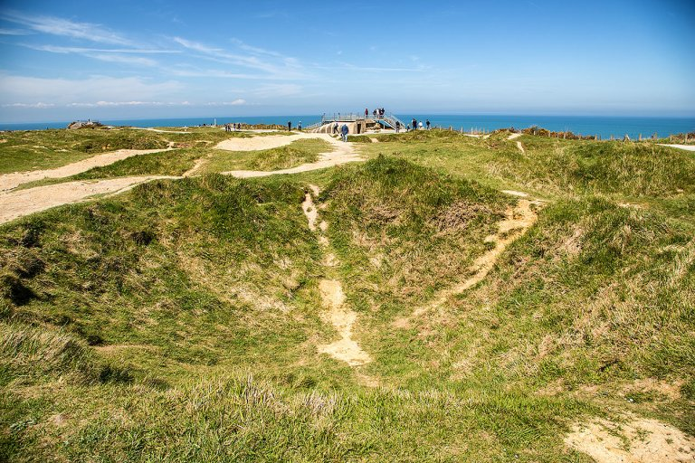 Bomb craters at Pointe Du Hoc, Normandy