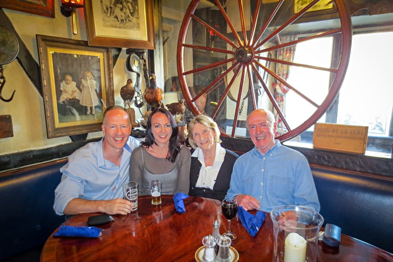 Image of family group in a pub