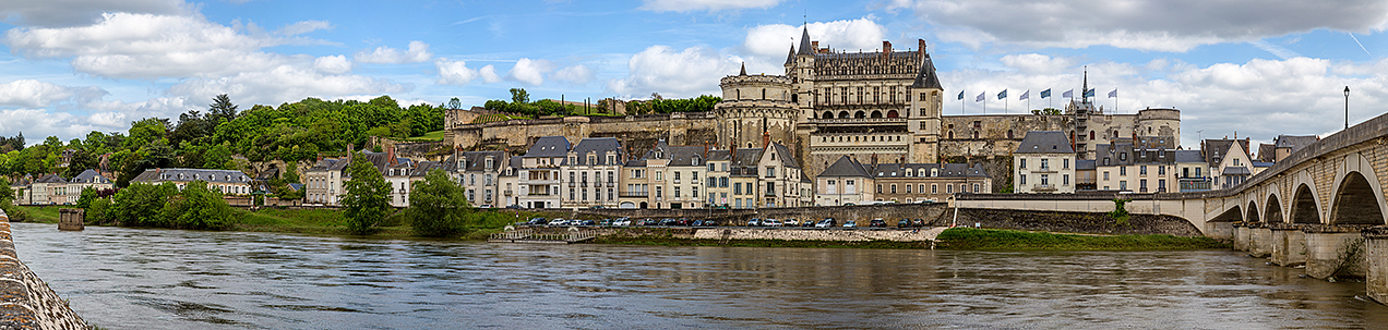Panoramic view of Amboise, a commune in the Indre-et-Loire department in central France