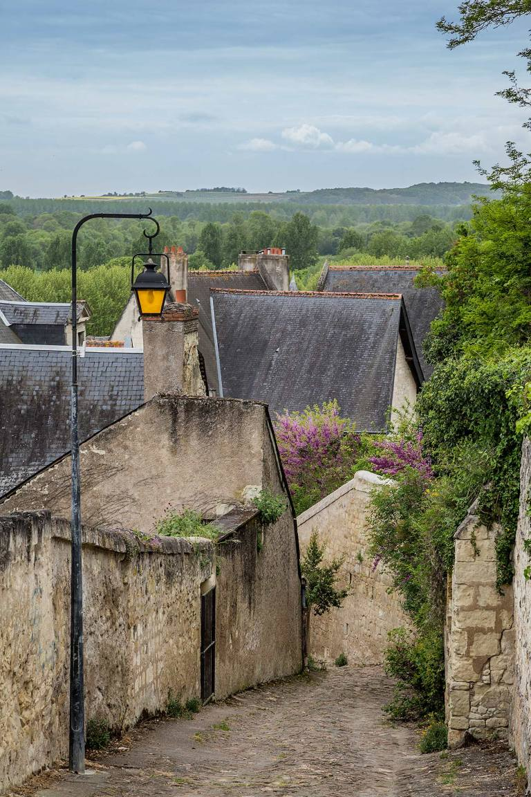 Laneway in Chinon, a commune in the Indre-et-Loire department in central France