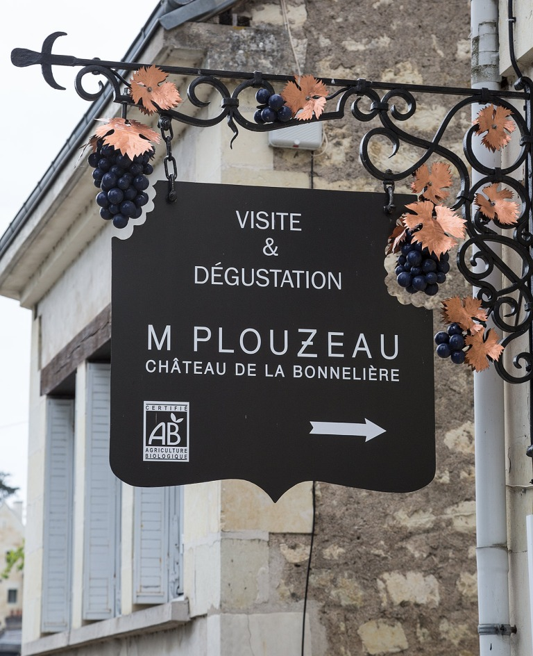 Sign for a vineyard in Chinon, France