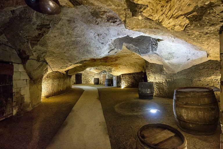 Inside view of the M. Plouzeau vineyard cave in Chinon, France