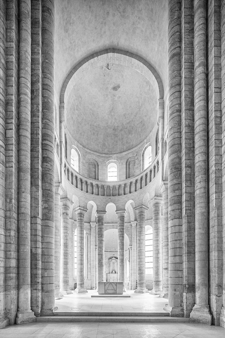 View towards the choir at Fontevraud Abbey