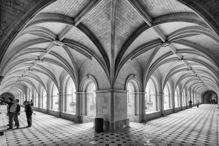 The cloister galleries at Fontevraud Abbey