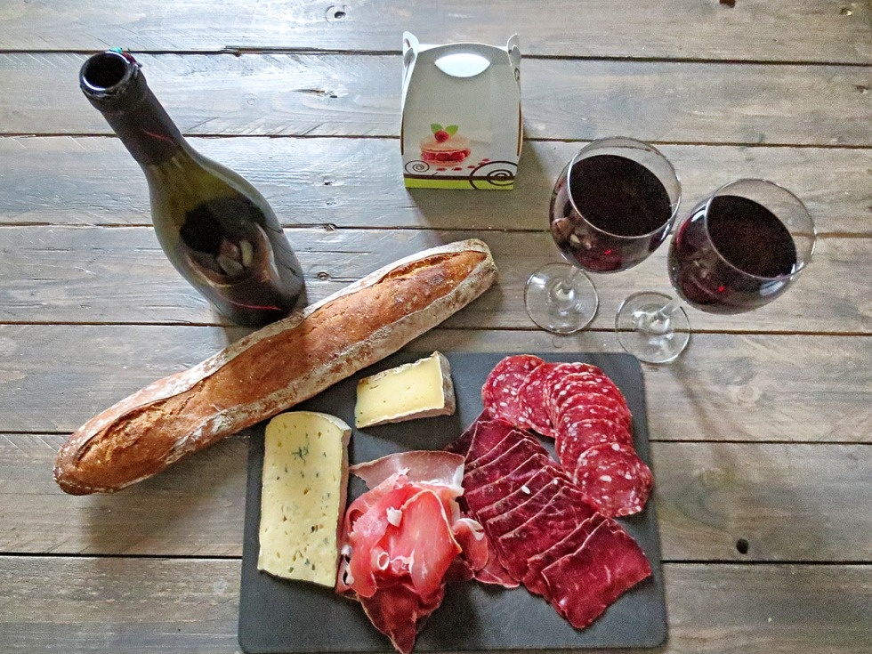 Ham, cheese, baguette and red wine