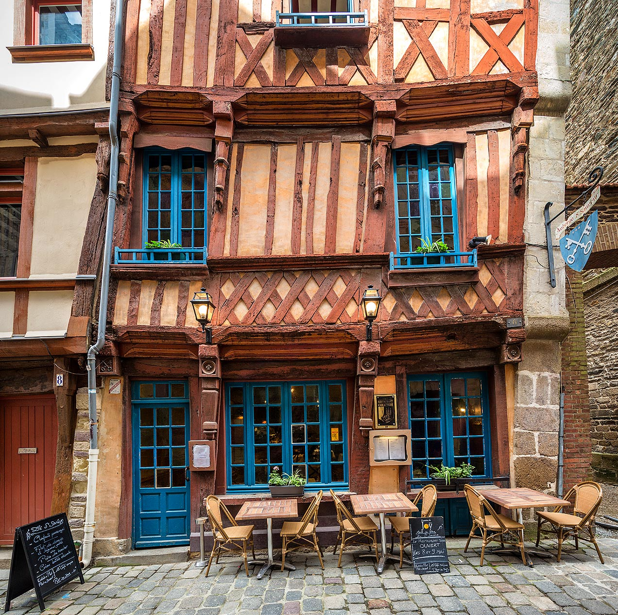 Timbered frame cafe building in Rennes