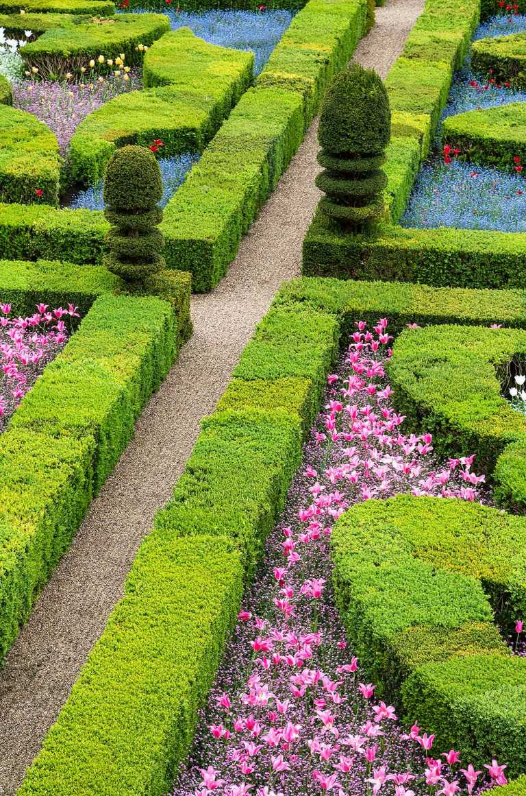 Gardens at the Château de Villandry, a castle-palace located in Villandry, in the département of Indre-et-Loire, France.