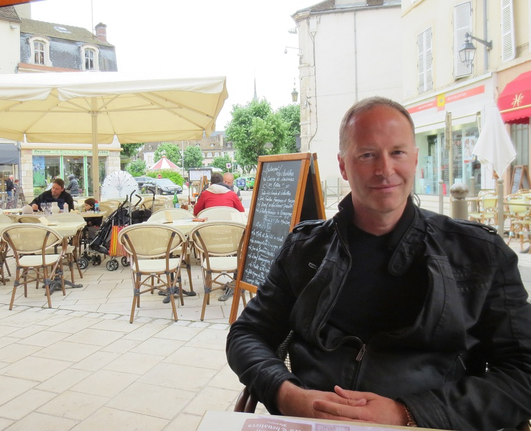 Michael Evans in a restaurant in Beaune, Burgundy