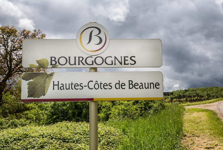 Road sign in Burgundy