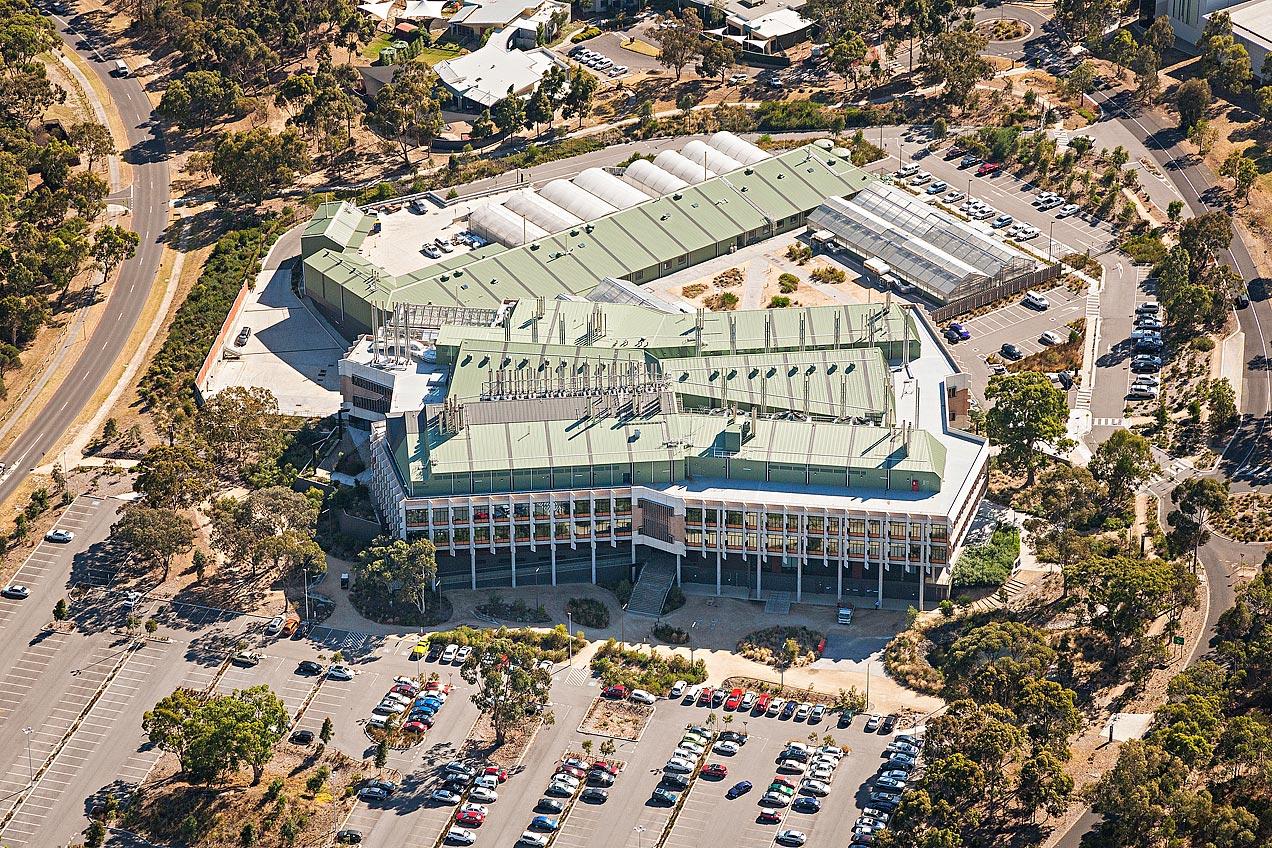 AgriBio building - La Trobe University aerial image - © Michael Evans Photographer 2014