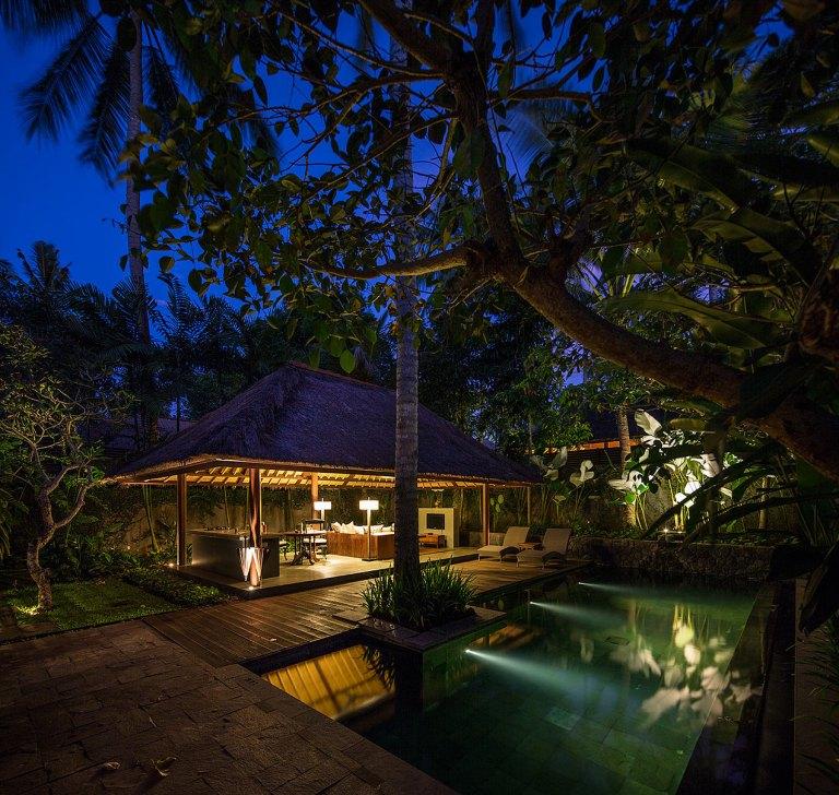 Dusk image of the Meranti Villa Pool, Kayumanis, Ubud...© Michael Evans Photographer 2014 - www.michaelevansphotographer 2014