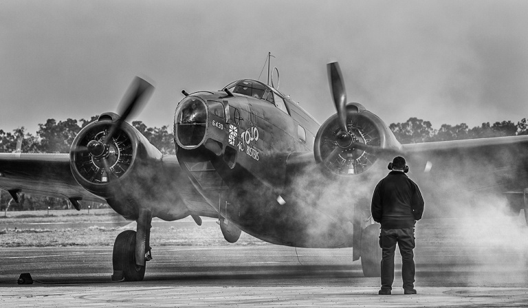Lockheed Hudson starting engine © Michael Evans Photographer 2014