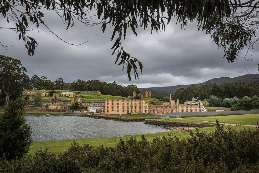 The main buildings at Port Arthur surrounded by builders hoarding  © Michael Evans Photographer 2015 - www.michaelevansphotographer.com