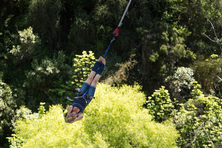 Bungy jumper at A J Hackett bungy jumping, Queenstown, New Zealand  © Michael Evans Photographer 2015