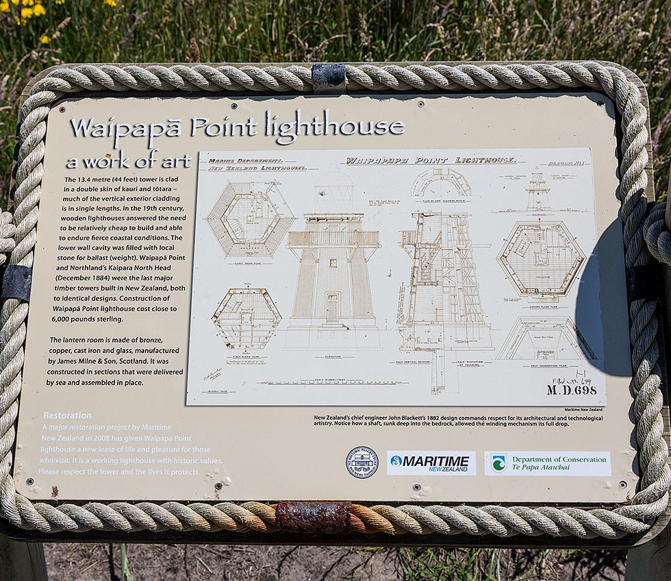 Sign describing hte Waipapa lighthouse© Michael Evans Photographer 2015