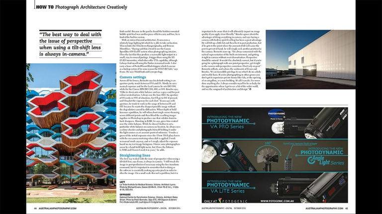 Australian Photography Magazine October 2015 Edition article about Architectural Photography