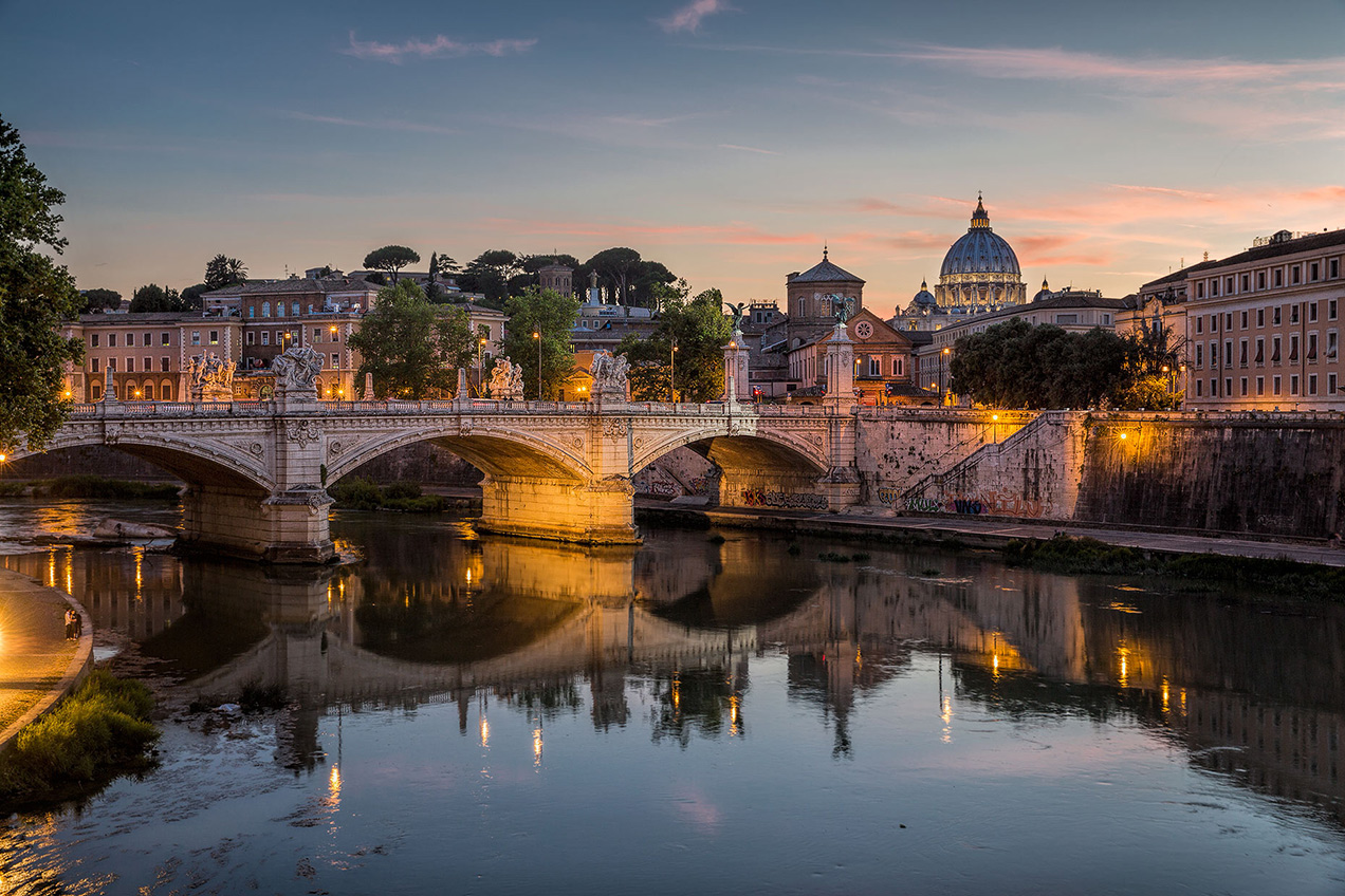 St Peter's at dusk from Pont St' Angelo - © Michael Evans Photographer 2015