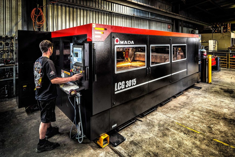 Industrial laser cutter made by Amada Oceania - image by Architectural, Commercial and Industrial Melbourne based photographer Michael Evans - © Michael Evans Photographer 2016 - www.michaelevansphotographer.com