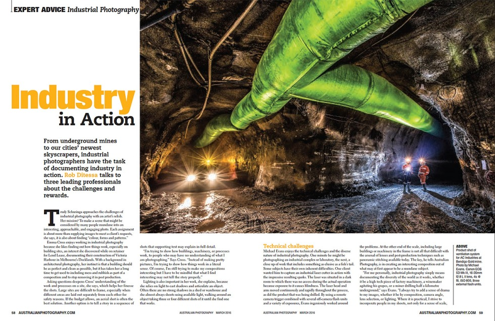 Australian Photography Magazine March 2016 Edition article about Industrial Photography
