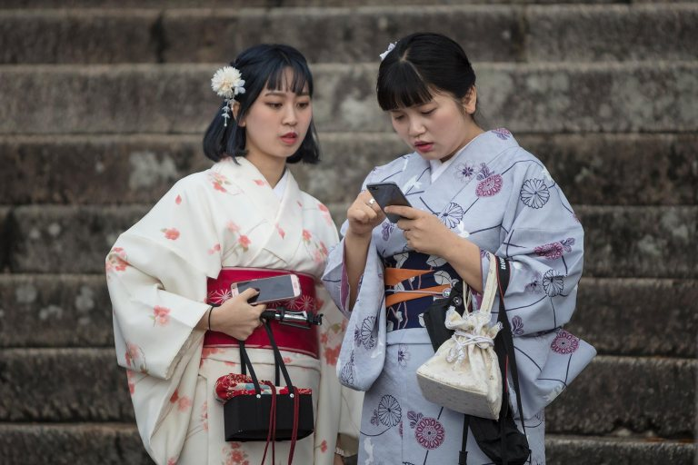 Two ladies in traditional kimonos at Fushimi Inari-taisha shrine, Kyoto, Japan © Michael Evans Photographer 2018