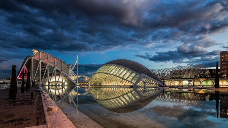 © Michael Evans Photographer 2018 View at night of the Valencia City of Arts and Sciences