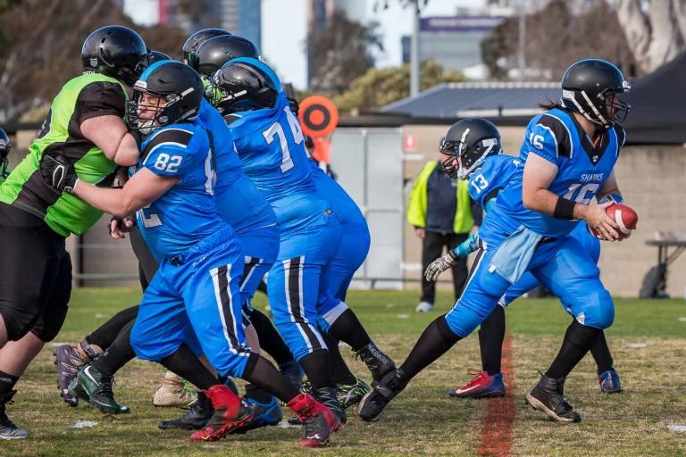 American football game played in Victoria Australia between the Pakenham Silverbacks and the Peninsular Sharks : © Michael Evans Photographer 2018