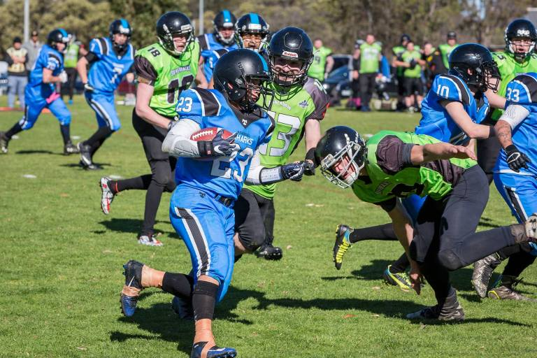 American football game played in Victoria Australia between the Pakenham Silverbacks and the Peninsular Sharks : © Michael Evans Photographer 2018