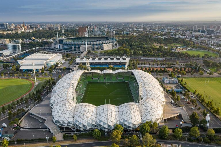 AAMI Park and MCG aerial view © Michael Evans Photographer 2019
