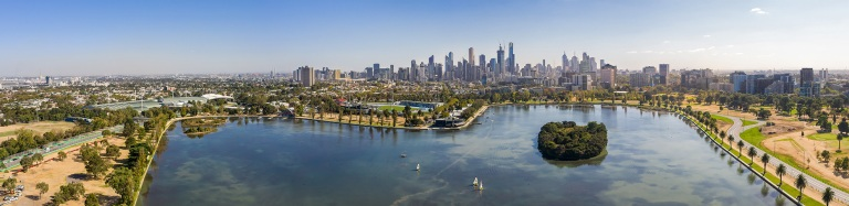 Aerial view of Melbourne Australia from Albert Park Lake © Michael Evans Photographer 2019