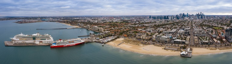 Aerial view of Melbourne Australia from Port Melbourne © Michael Evans Photographer 2019