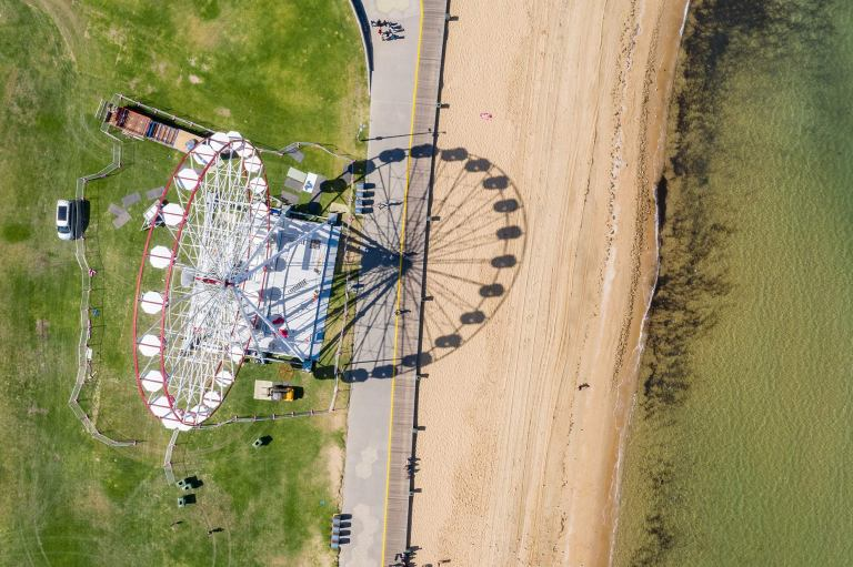 Ferris wheel on St Kilda beach, Melbourne Australia, aerial view © Michael Evans Photographer 2019